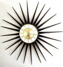 vintage sunburst wall clock appealing retro starburst medium image for gorgeous