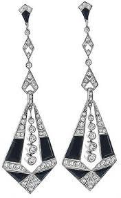 vintage round cut diamond onyx platinum chandelier earrings