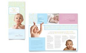 baby pamphlets infant care babysitting brochure template design