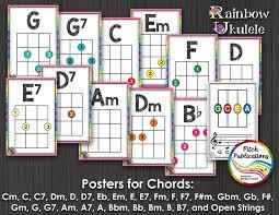 Rainbow Ukulele Chord Chart Posters Posters J W Pepper