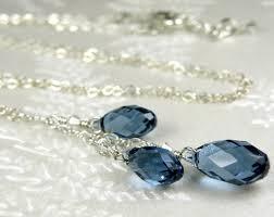sapphire blue crystal necklace y drop pendant swarovski teardrop denim blue bridesmaid wedding handmade jewelry september birthday gift