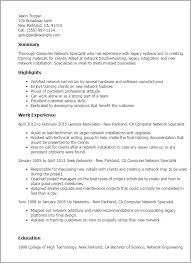 professional computer network specialist templates to showcase    resume templates  computer network specialist