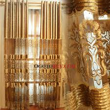 gold embroidery pattern sheer curtain loading zoom