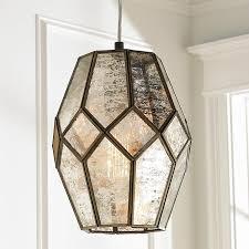 clear glass prism pentagon pendant light. Young House Love Mercury Glass Prism Pendant - Small Clear Pentagon Light