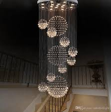 modern chandelier large crystal light fixture for lobby staircase stairs foyer long spiral re ceiling lamp flush mounted stair light multi pendant