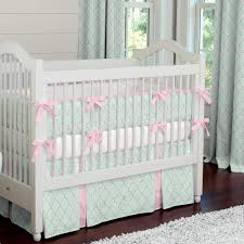 mint and pink quatrefoil crib bedding