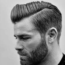 men s straight hairstyles hard side part with beard