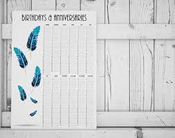 Birthday Anniversary Calendar Birthday And Anniversary Calendar Printable Perpetual Etsy