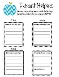 Parent Sign Up Sheet Parent Helpers And Volunteer Sign Up Sheet By Fun Fabulous First