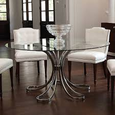 nickel and glass round dining table 60