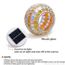 solmore solar lights led color changing solar table lights mosaic glass ball solar outdoor garden lights