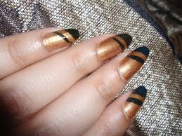Gold and Black Stripe Nail Art with Tape | BeautyClix