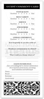Restaurant Customer Comment Card Template