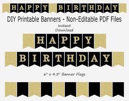 Birthday Banner Printable Happy Birthday Banner Black Gold Glitter Printable Instant Download