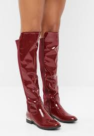 miss black patent over the knee boot red