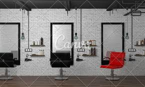 Modern Design Hair Salon Interior Modern Hair Salon 3d Illustration Empty Hairdresser
