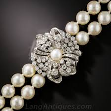 pearl necklace with diamond clasp previous to enlarge photo