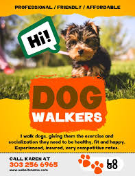 Dog Walker Flyer Social Media Template Yellow Lost Pet And Pet