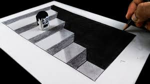 how to draw 3d hole and stairs step by step easy trick art on paper for kids anamorphic illusion