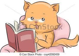 mascot cat reading book csp42092459