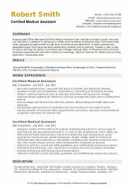 Example Of Medical Assistant Resume Certified Medical Assistant Resume Samples Qwikresume