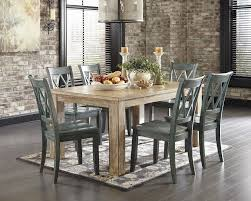 7 piece clic rustic dining room set washed pine blue