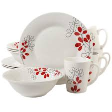 Gibson Home Scarlet Leaves 12-Piece White with Red Decorated Dinnerware Set