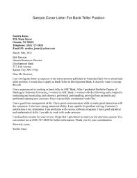 Sample Cover Letter For Bank Teller Position Sample Cover Letter