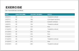 Diet And Exercise Schedule Template Word Excel Templates