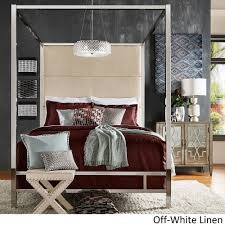 Image is loading Evie-Chrome-Metal-Canopy-Bed-with-Linen-Panel-