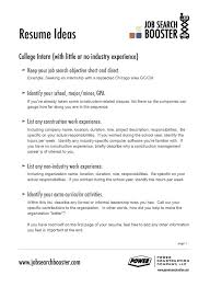 job cover letter created objective resume example for college intern with little or no industry experience what to write in career objective for a resume