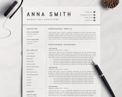 Resmue Template Resume Template Etsy