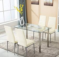 mecor gl dining table set 5 piece kitchen table set with 4 leather chair with