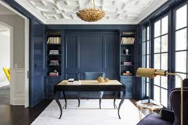 Modern home office wall colors Gray Wall Color Is Benjamin Moore Hale Navy Pinterest Moody Monday Transitional Blues And Grays Client Ideas Home