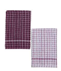 s cuisine kitchen towels set of two mono pattern purple white