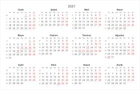 2021 Tatil Günleri