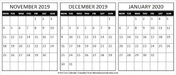Blank Dec 2020 Calendar Blank November December 2019 January 2020 Calendar Fresh