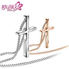 ouyan necklaces rose gold silver cross necklaces for women and men immanuel