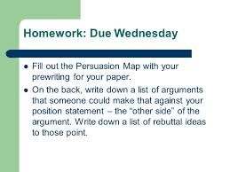 persuasive essay count down class days until due date ppt 5 homework due wednesday fill out the persuasion map