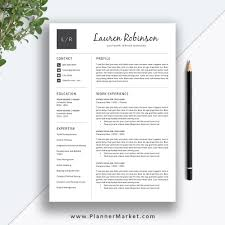 Professional Resume Template Cv Template Teacher Resume Design Modern Resume Cover Letter Ms Word The Lauren Resume