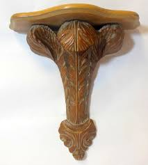 vtg carved plume wood wall shelf bracket prince of wales regency feather italian 1 of 12only 1 available see more