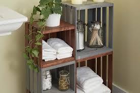 bathroom organizer made from wooden cratesa