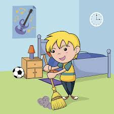 clean bedroom clipart. Unique Clipart Child Cleaning The Bedroom Vector Art Illustration In Clean Bedroom Clipart L