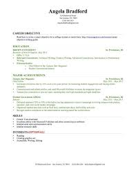 Objective For Resume For Students Student Objective For Resume College Graduate Sample Business 33