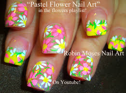 Easy Spring Flowers Nail Art | Cute Pastel Daisy Nails - YouTube