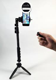 ring light with stand. socialite mini led photo live video tabletop ring light kit, incl tripod stand, selfie stick monopod, bluetooth remote, universal mounts iphone 6 plus with stand