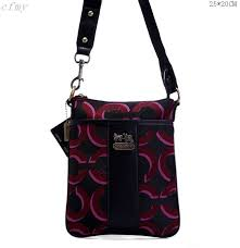 Coach Fashion Logo C Small Black Red Multi Crossbody Bags