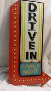 Small Picture Drive In family night metal sign retro man cave movie cinema http