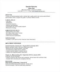 Sample Resume For Medical Assistant Impressive Resume Free Samples Llun