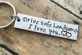 drive safe boyfriend gift aluminum couples keychain end keychain husband gift